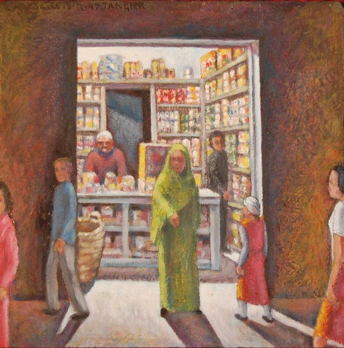 Roger Davis - 1997 At a Grocers in Tangier, Morocco - 13:02:97 - 24x24cm - Painting